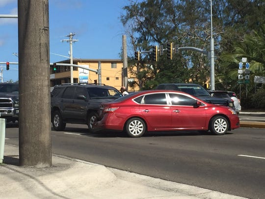 A two-car collision in Hagåtña Thursday morning blocked northbound lanes.