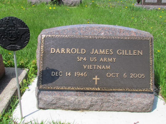 The recently marked grave of Darrold Gillen, a Vietnam veteran who died in 2005.