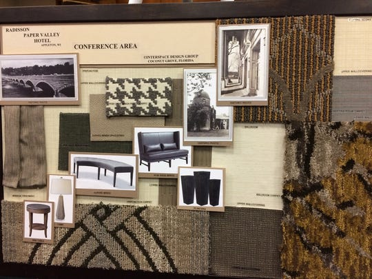 Design boards from Interspace Design Group for the Radisson Paper Valley Hotel conference space.