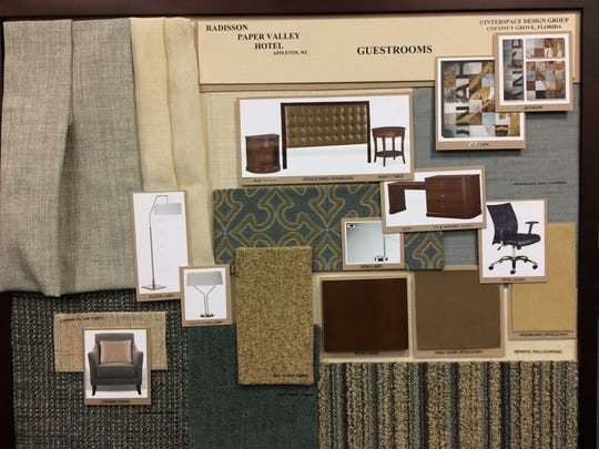 Design boards from Interspace Design Group for the Radisson Paper Valley Hotel guest rooms.