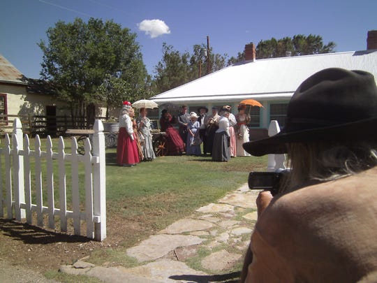 """""""Gabby"""" McDonald, far right, images the Cameo Ladies of Tombstone, Ariz.,  on the lawn of Lincoln's historic Wortley Hotel. """"We're waiting for Billy,"""" invite the Cameo Ladies attired in 1880s finery, an homage to a photograph allegedly showing Billy the Kid playing croquet."""