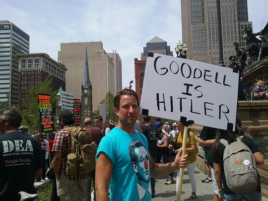 """Goodell is Hitler"" protester outside the Republican National Convention in Cleveland."