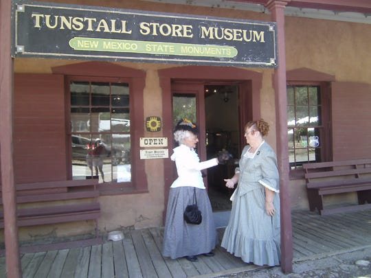 """""""We'll shop here!"""" 1880s re-enactors Miss Sunny, left and Miss April, right, feel right at home at the Tunstall Store Museum in Lincoln."""