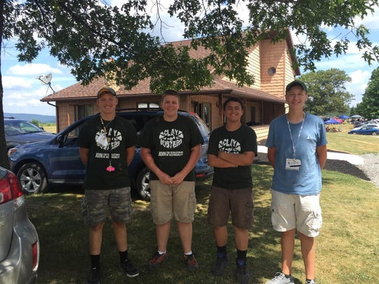 The Franklin County 4-H Junior Shotgun Team, consisting of, left to right, Wyatt Craig, Bryce Summers Bobby Miller and Alec Urban, placed third overall in the Shooting Sports contest.