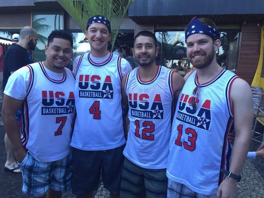 (Left to right) Manny Valencia, 30; Nick Spirakus, 25; Eddy DeReza, 25; and Kreg Miller, 25, are Arizona State graduates hanging out in Rio for the Olympics.