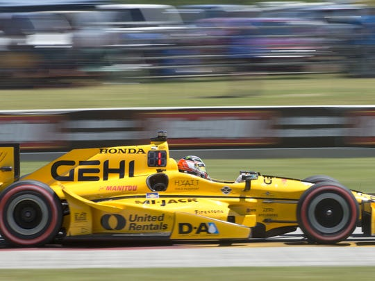 The red LED No. 1 on Graham Rahal's IndyCar shows he