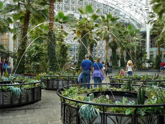 The one-acre Crystal Garden inside of Navy Pier contains