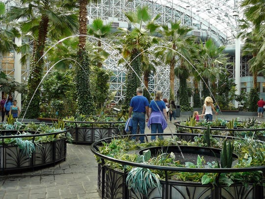 The one-acre Crystal Garden inside of Navy Pier contains palm trees.