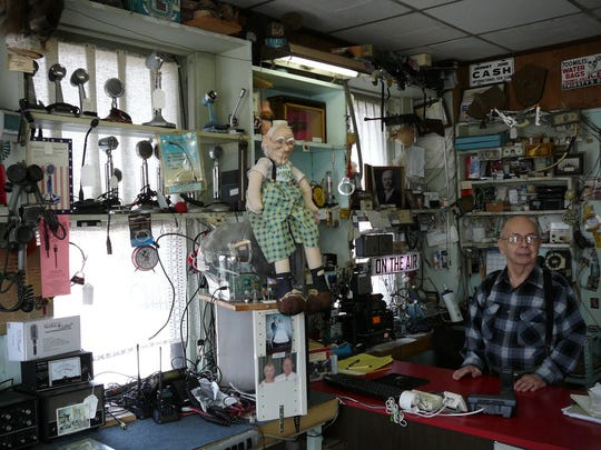 Guy Tesla Boucher's radio and television repair business also displays communications devices from yesteryear.