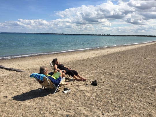 Frank and Carolee Schmid, of Mount Clemens, relax at Lakeside Beach