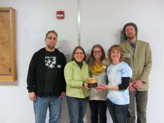 Shown receiving the award at Empty Bowls in October (left to right) are Stephen and Becky Veldhoff, Krista Engelhardt from Farmshed, and Jill Hicks and Jeremy Erickson from HPPP.