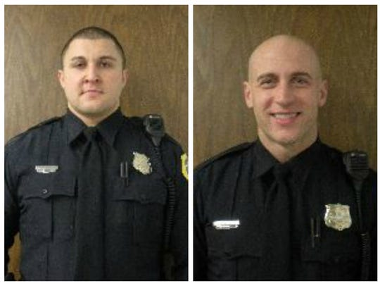 Senior Police Officers Joshua Judge (right), and Tyson