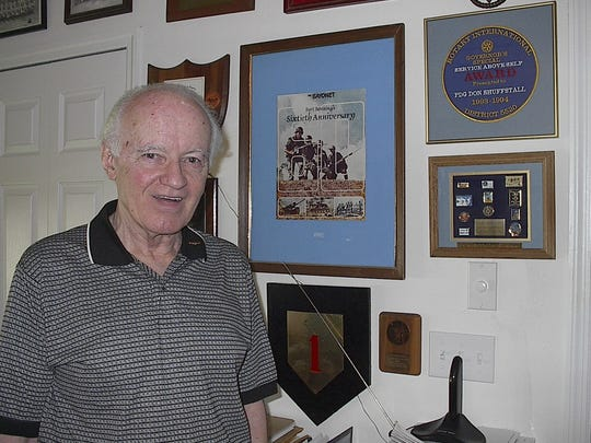 Don Shuffstall stands near some of his military honors inside his home in this 2004 file photo.