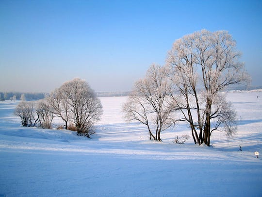 A wintry landscape.