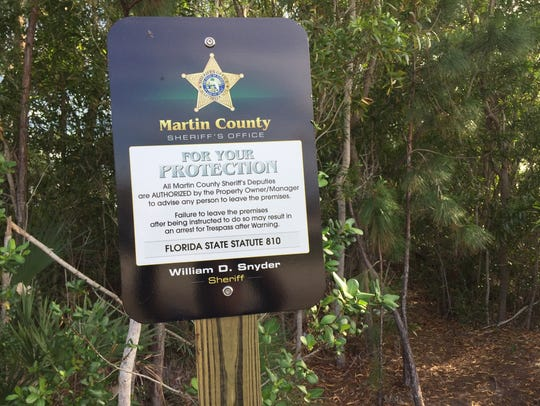 A sign from the Martin County Sheriff's Office is seen