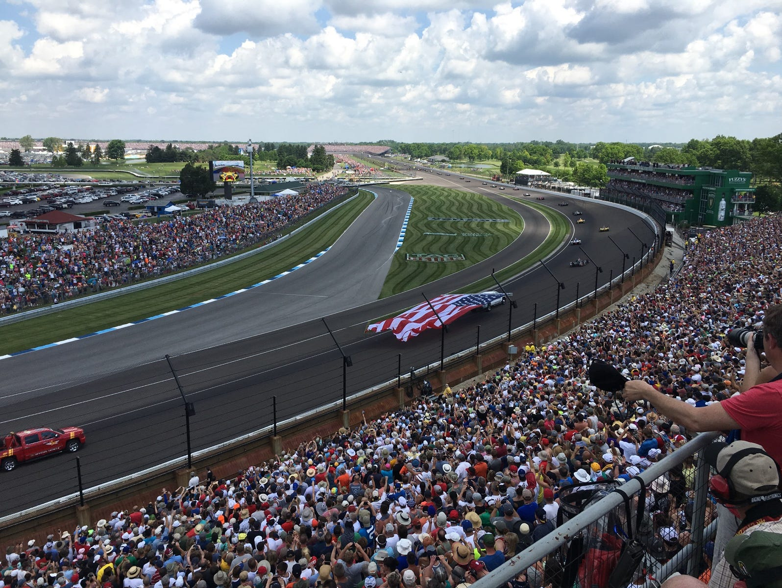The view from longtime Indy 500 fan John Skinner's seat high up in Turn 2.