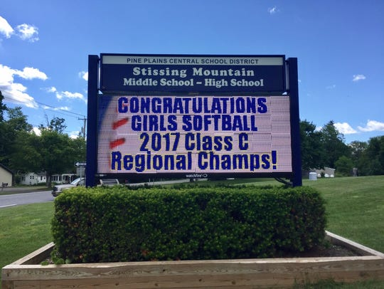 Stissing Mountain High School uses its display board