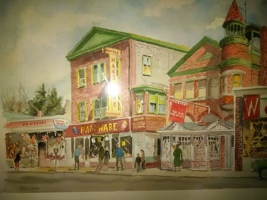Russ Conn's paintings of Boonton's Main Street will be on display through September in town.