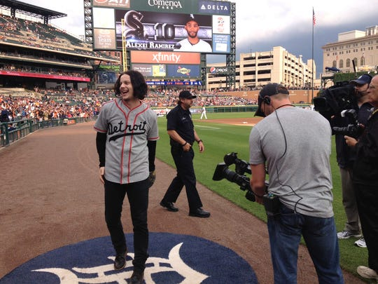Jack White just prior to throwing out the first pitch at the Detroit Tigers' game at Comerica Park in downtown Detroit on July 29, 2014.