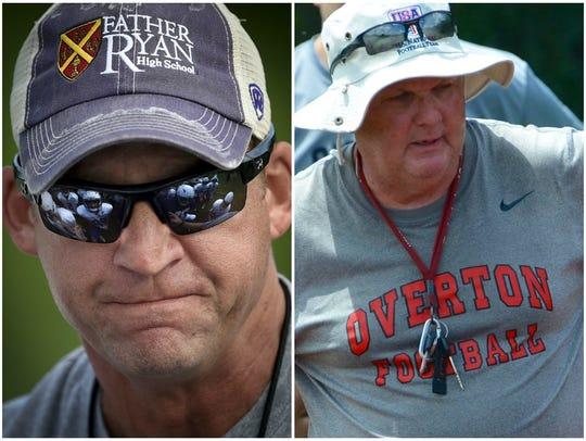 Father Ryan coach Brian Rector and Overton coach Steve