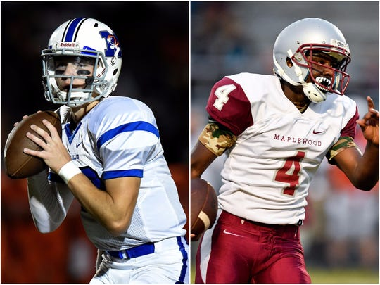 Marshall County quarterback Bryce Wallace (left) and Maplewood quarterback Bobo Hodges (right)