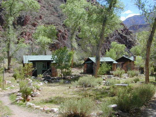 Small cabins at Phantom Ranch at the bottom of the Grand Canyon.