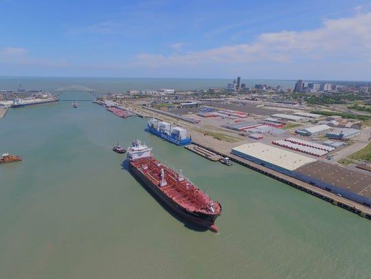 A liquid bulk vessel sails the Corpus Christi Ship Channel on the Inner Harbor.