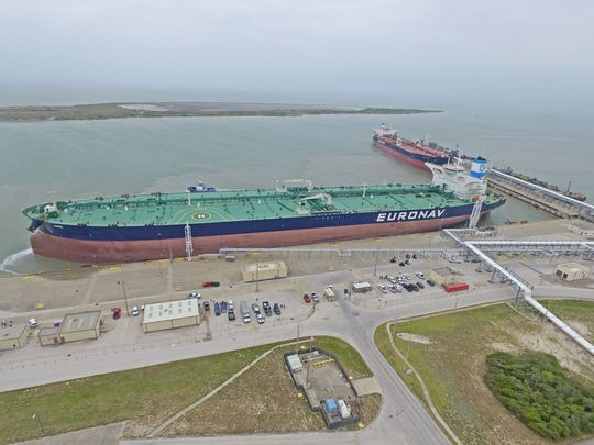 The supertanker Anne, a 1,093-foot crude carrier, docked at the Corpus Christi port earlier this year.  This is the largest ship to ever dock in a Gulf of Mexico harbor.