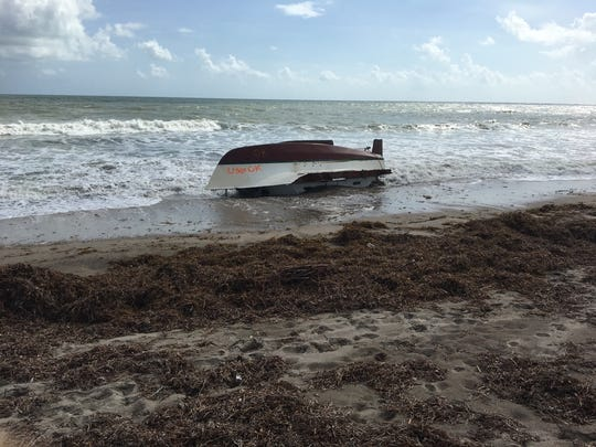 Paul Sperco, of Port St. Lucie, found this boat at Bryn Mawr Beach in Martin County on Sunday.