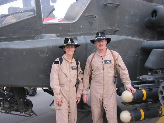 Carrie Bruhl and Brian Stewmon kept their cool during a fierce air combat fight in Iraq in March 2003.