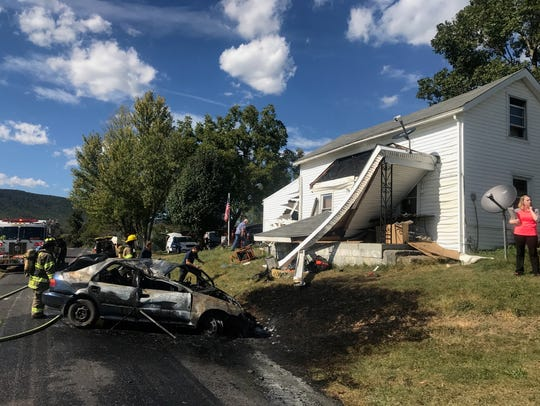 Swoope fire volunteers respond to a one-vehicle wreck