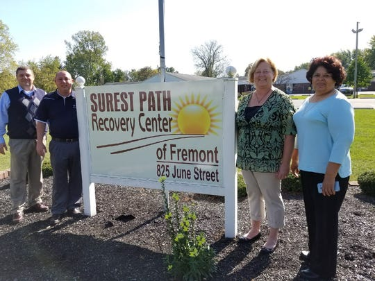 New drug treatment facility Surest Path Recovery to open soon in Fremont. Pictured are executive assistant to the mayor Bob Gross, far left, Fremont Mayor Danny Sanchez, executive director of Surest Path Recovery Dian Ruffing, middle, and Fremont City Councilwoman Angie Ruiz, far right.