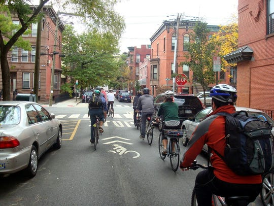 Pictured is an example of a bike boulevard in Hoboken,