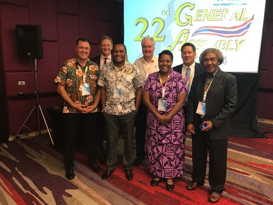 Representatives from Cook Islands, Fiji, New Zealand, Australia, Vanuatu, and Papua New Guinea at the 22nd Asian Volleyball Confederation General Assembly.