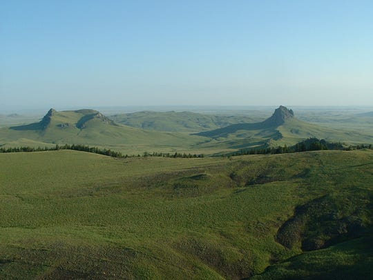 Montana Fish, Wildlife and Parks has finalize the purchase of a conservation easement to protect wildlife habitat on property northwest of Cascade owned by the Rumney Cattle Co. Lionhead Butte is on the left, Birdtail Butte on the right.