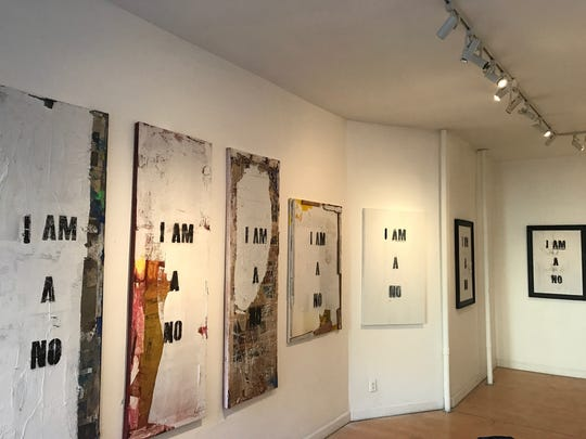 "Salem Artist Matthew Boulay's exhibit ""I Am A No"" is displayed at Dacia Gallery in New York City."