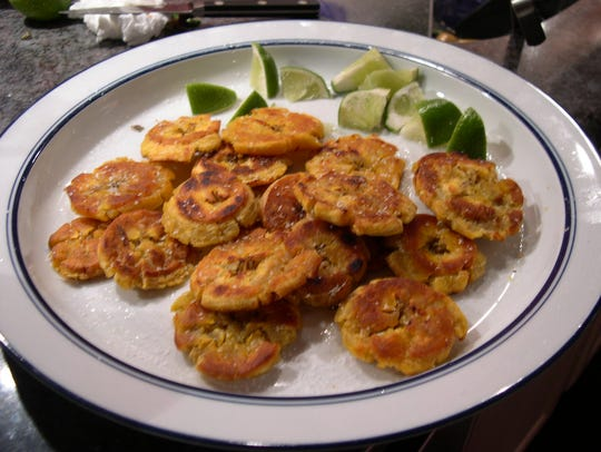 Peeled, sliced plantains can be baked with brown sugar,