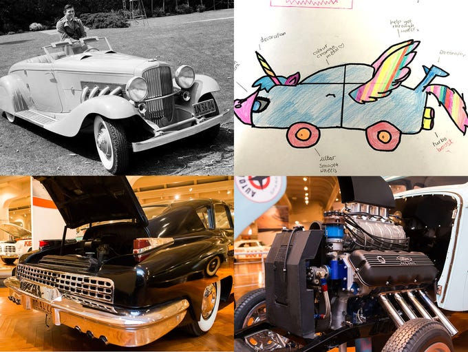 Clockwise from upper left, Clark Gable behind the wheel