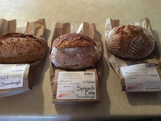 Oat & Honey, Spinach Feta and Alaskan sourdough breads
