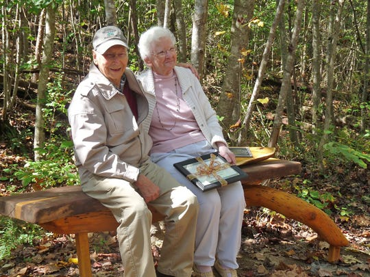 Gerry and John Stark were honored with a bench dedication along a trail in Bowie Nature Park.