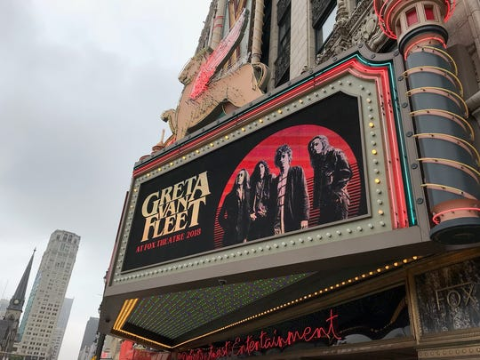 The Fox Theatre marquee hints at a 2018 show by Greta Van Fleet. Photo taken May 22, 2018.