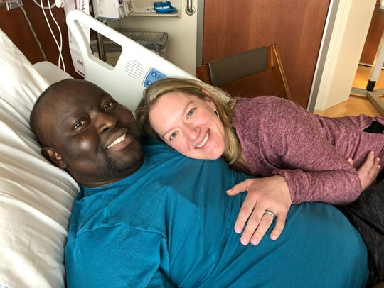 Christian and Christine Diompy, at Froedert Hospital, in April. After a difficult day for the couple, they finally got quiet time in the hospital to be with each other.