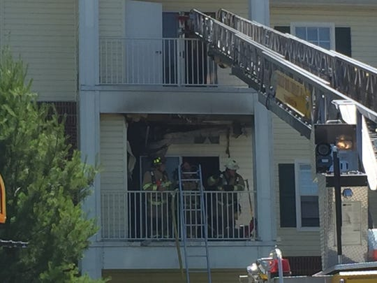 Crews battle a three-alarm fire at Willows Senior Apartments in Lebanon Tuesday afternoon.