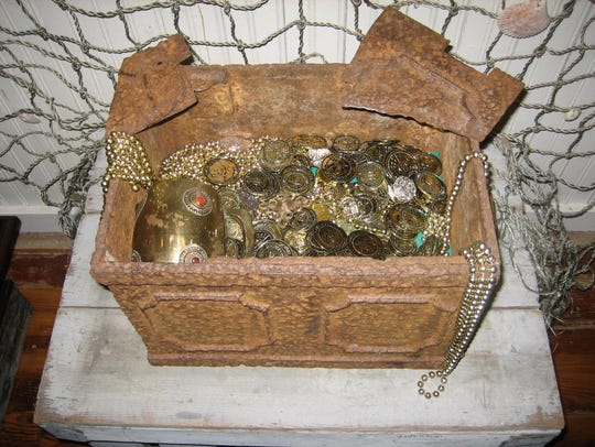 The Pitchford 1760s treasure chest on display at the