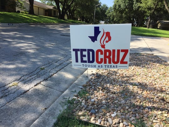 A yard sign supporting U.S. Sen. Ted Cruz appears in
