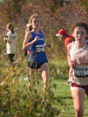 Mother of Mercy senior Andrea Reinstatler leads her team in 18th place to help the Bobcats advance out of the Division I district meet to regionals on Oct. 21, 2017 at Voice of America Park.