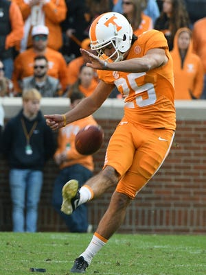 Tennessee placekicker Aaron Medley (25) during the second half of their 49-36 win over Kentucky in Neyland Stadium Saturday, Nov. 12, 2016 in Knoxville, Tenn.