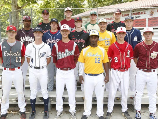 Front row, L-R: Nolan Haire (Munroe), Austin Bishop (Aucilla Christian), Conner Dunbar (Chiles), Kaycee Reese (Rickards), Josh Nothdorft (Leon), Devin Caldwell (Florida High); Middle row, L-R: Akevious Williams (Madison County), Bailey Metcalf (Wakulla), Ethan Michaelis (NFC), Adam Asker (Rickards), Max McKinley (Maclay); Back row, L-R: Pitcher of the Year Cole Sands (NFC), Bowden Francis (Chiles), Player of the Year Tyler Holton (Lincoln), Cole Ragans (NFC)