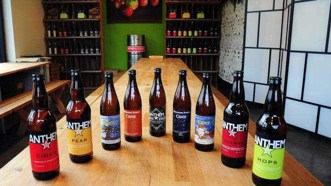 Visitors can sample and purchase the full line of Wandering Aengus ciders, which includes Anthem, at the new tasting room at the cidery at the Fairview Industrial Park.