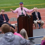 Dave Daubenmire of Pass The Salt Ministries gives the keynote address to a crowd of about fifty Sunday during the Shut It Down, pro-life rally at O'Gorman's McEneaney Field, Oct 4, 2015.